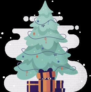 Grafik Geschenke unter Weihnachtsbaum mit Hintergrund