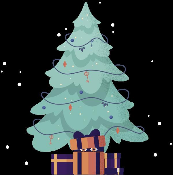 Grafik Geschenke unter Weihnachtsbaum